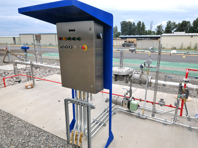 The new deicing material treatment facility relies on the numerous controls and testing mechanisms to ensure efficient operations.  This treatment process control panel is on the south side of the treatment facility.