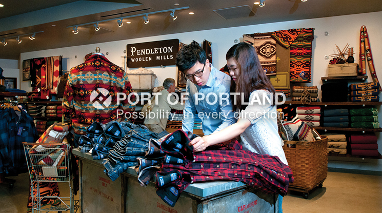 Pendleton's signature store at PDX showcases the company's rich heritage of more than 100 years in Oregon and Southwest Washington. Pendleton offers it's first-ever Portland Collection, a line of hip clothing for contemporary consumers, now available at PDX.