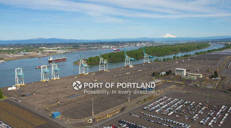 Terminal 6, Oregon's only deep draft container terminal, serves as an international gateway for regional exports and imports.
