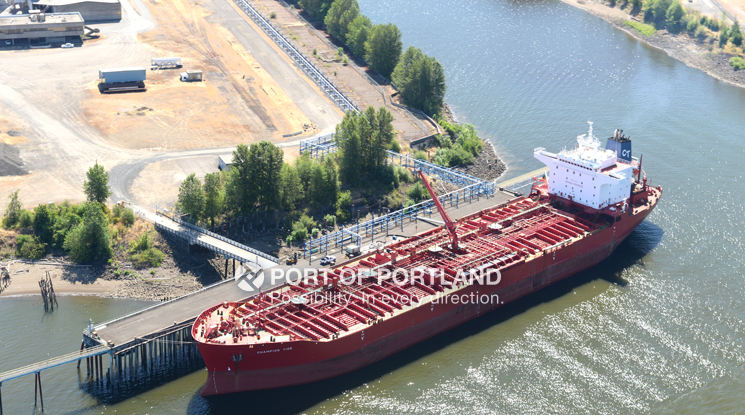 A ship at Port of Portland's Terminal 4 unloads a liquid bulk cargo.