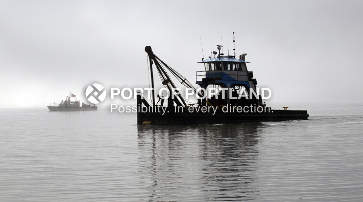 Maintaining the marine highway known as the Columbia River takes specialized equipment like this dredge tender.