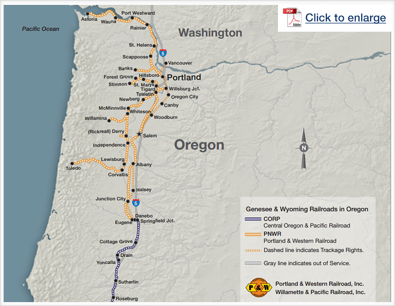 Genesee & Wyoming Railroads in Oregon