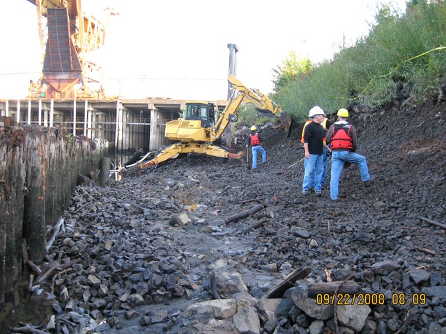 Slip 3: Area in back of slip cleared from debris and armor rock in preparation of cap placement. Spider excavator working in background.
